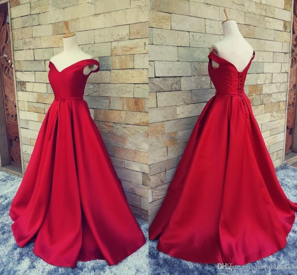 Real Photos off shulder formal evening dresses lace up back ruched satin a line prom gowns