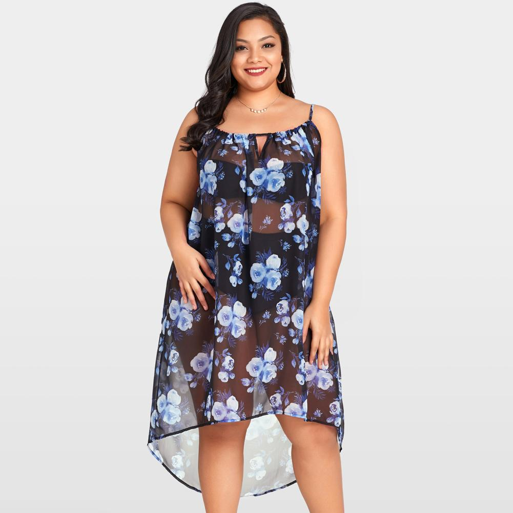 35a8d8463e Sexy Women Sheer Chiffon Dress Floral Bikini Summer Beach Dress Transparent  Sleeveless Asymmetric Beachwear Midi Dress Dark Blue Yellow Maxi Dress With  ...