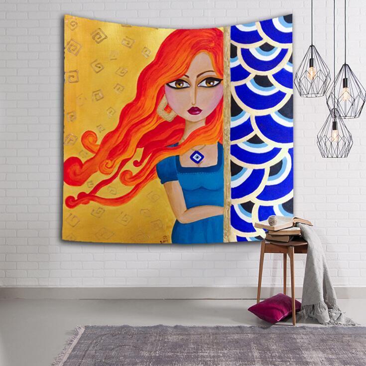 bohème indien tapisserie rétro dessins animés fille rectangulaire tapisserie hippie Tenture murale impression numérique serviettes de plage crème solaire châles