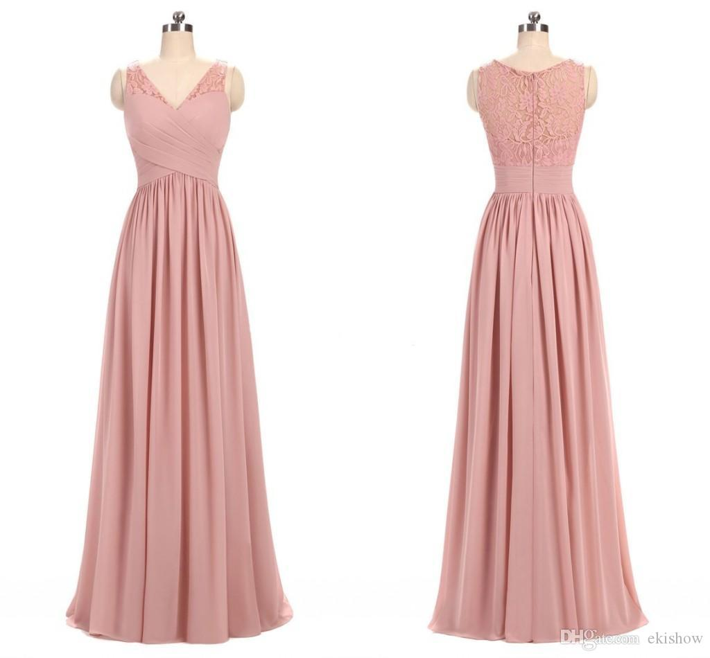 2018 Dusty Rose Pink Chiffon V Neck Lace Bridesmaid Dresses Pleated ...