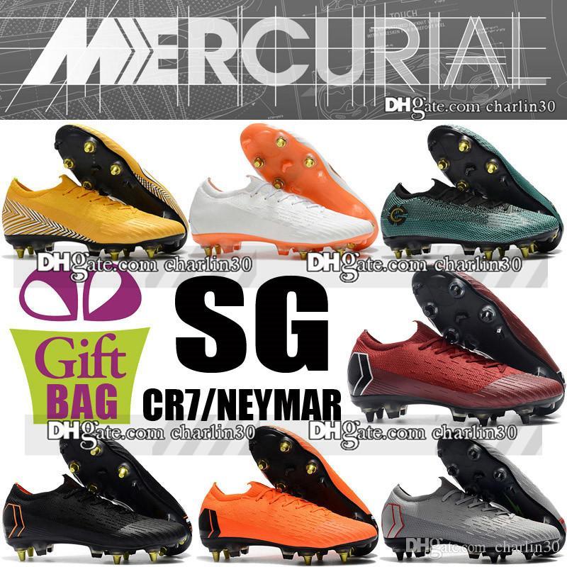 Mens di alta qualità Mercurial Superfly VI SG Scarpe da calcio Cristiano Ronaldo Soccer Cleats Calze Mercurial Superfly CR7 Neymar Scarpe da calcio