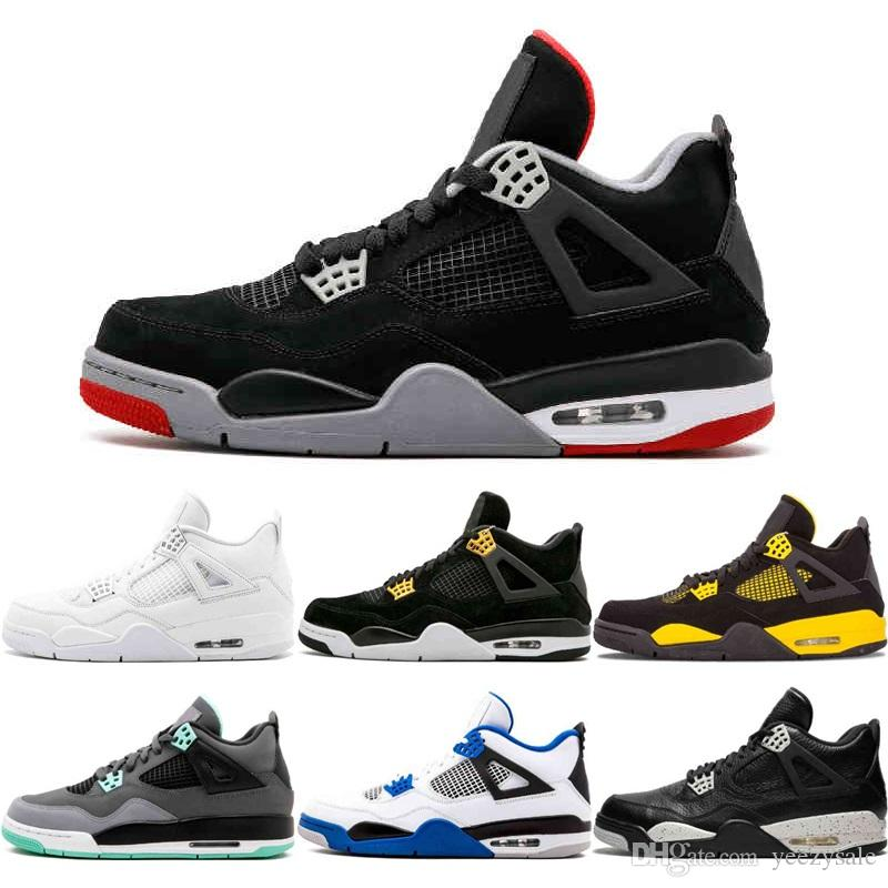 wholesale dealer d3861 05cfd 4 Black Cat Basketball Shoes Mens 4S University Red Oreo Green Glow Fire  Red Pure Money BRED Royalty White Cement Sports Sneakers