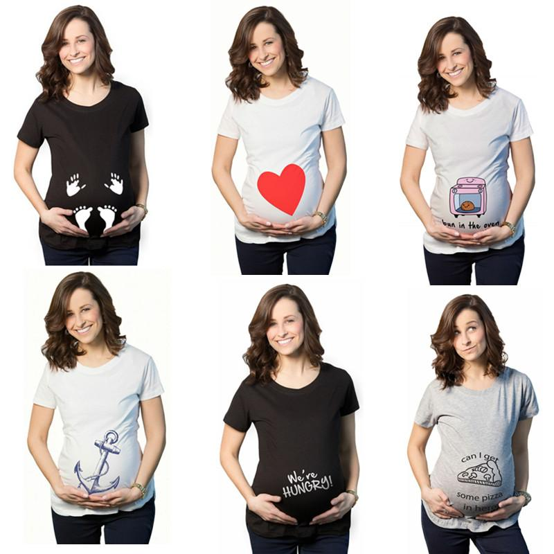 b0ab7bfca 2019 Summer Pregnant Maternity T Shirts Short Sleeve Casual Pregnancy  Clothes Funny For Pregnant Women Marternity Clothing Tees Tops From  Okbrand, ...