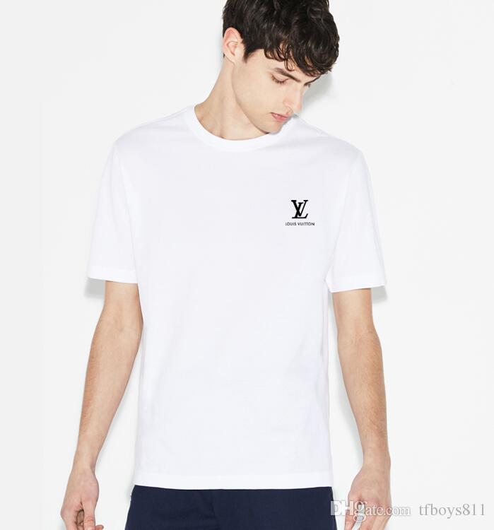 c39c9e30d8 NEW 2018 LOUIS VUITTON T-Shirts Summer Tee Shirt men Solid Color Casual  Short Sleeve Ladies Tees Tops Female T Shirt #175