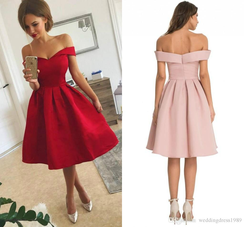 Modest Off Shoulder Short Prom Dress Satin 2018 cheap Homecoming Skirt bridal Shower Knee Length Short Party Dress Cocktail Homecoming