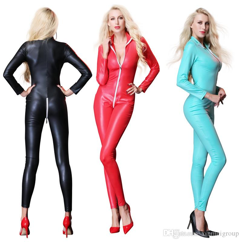 2c1d8482275c 2019 Sexy Faux Leather Jumpsuit For Women Night Clubwear Wet Look Vinyl  Catsuit Latex Bodysuit Zipper Open Crotch PVC Leotard Costume W926771 From  ...