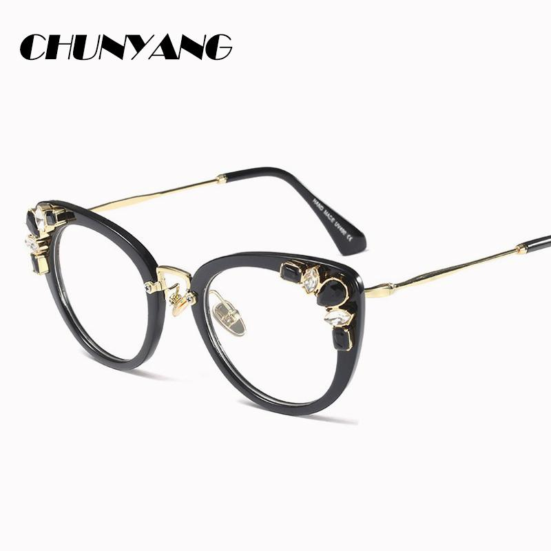 9847ebb127609 2019 Crystal Diamond Cat Eye Glasses Frames Women Trending Styles Brand  Designer Optical Fashion Computer Glasses CY185 From Maocai