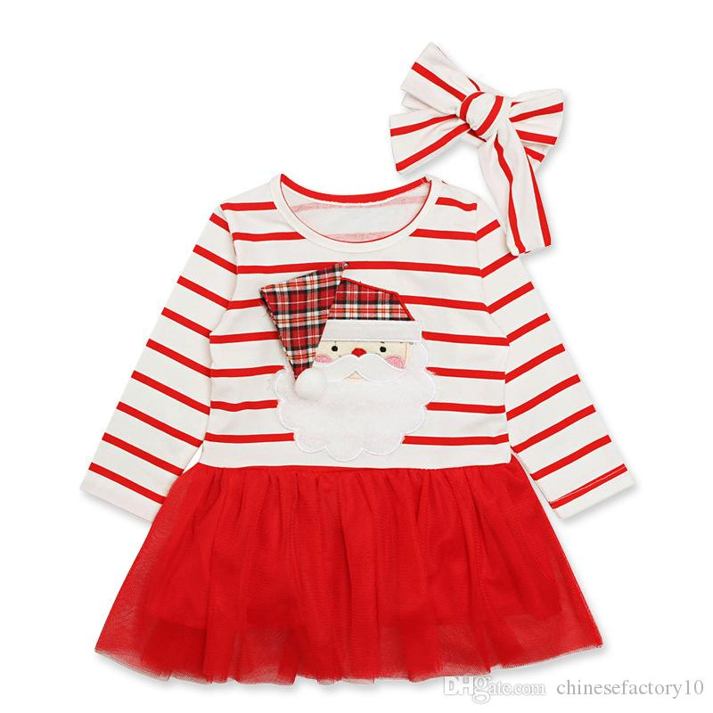 382a9709ff111 Baby Girls Ins Christams Santa Claus Print Dress & Stripe Headband 2 PCS  Long Sleeves Party Dress New Year Clothing Clothes Xmas Princess