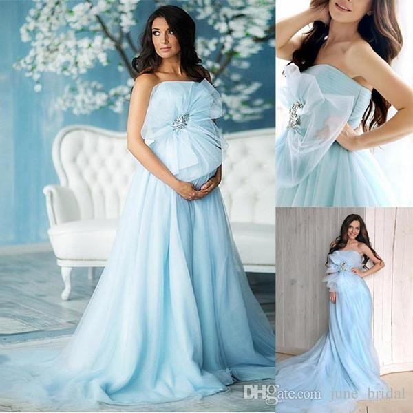 2018 Maternity Prom Dresses A Line Strapless Sweep Train Evening Gowns With Tulle Bow Backless Party Gowns