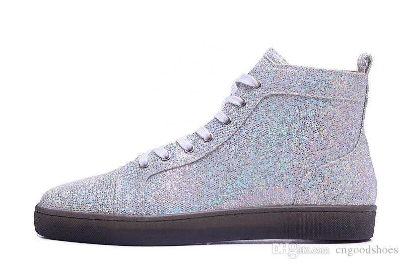 c7b6f6e2cf4 2019 Fashion Luxury Red Bottom Sneaker Rantus Orlato Flat Glitter Mens  Womens High Top Casual Sneakers Multi Color From Cngoodshoes