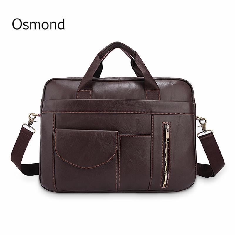 c25b627dc0096 Osmond Men s Briefcases Genuine Leather Handbag Vintage Laptop ...