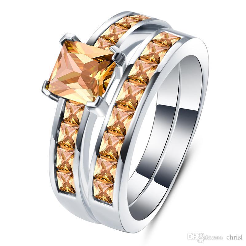 Doppel Ringe für Frauen Gold Farbe Engagement Kristall Ring Elegante Damen Ringe Schmuck Zirkonia Intarsien Rubin Schmuck