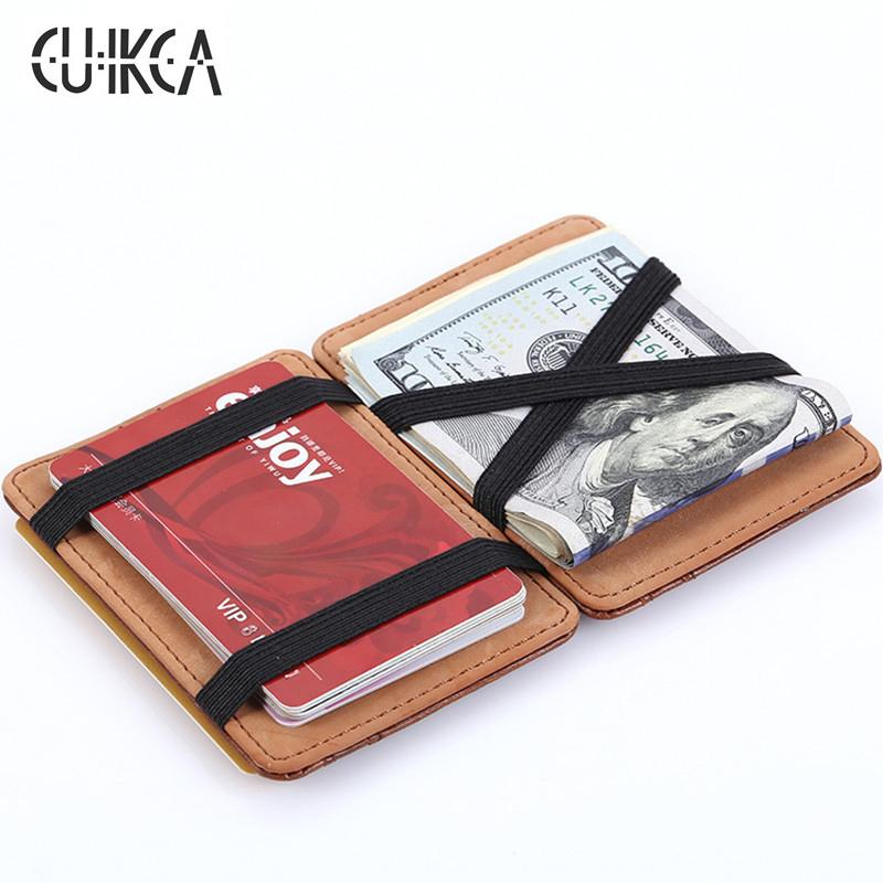 High quality men magic wallets Korea fashion mini men wallets small portable PU leather purse male card holder XF005