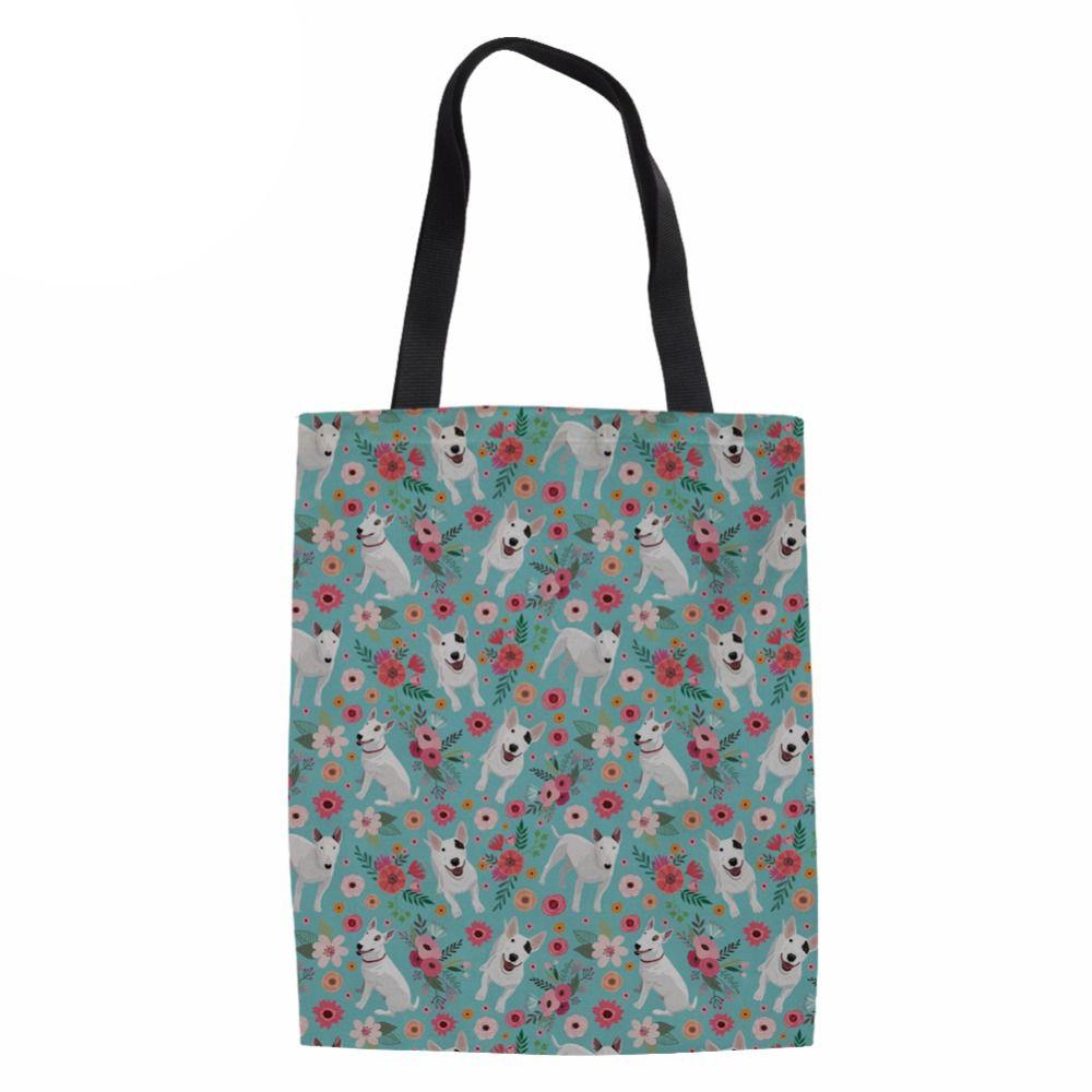 Brand Canvas Tote Bag Fabric Cotton Cloth Reusable Shopping Bag Women Beach  Handbags Bull Terrier Prints Grocery Bags Big Jute Shopping Bags Eco  Friendly ... 2844e36cd9