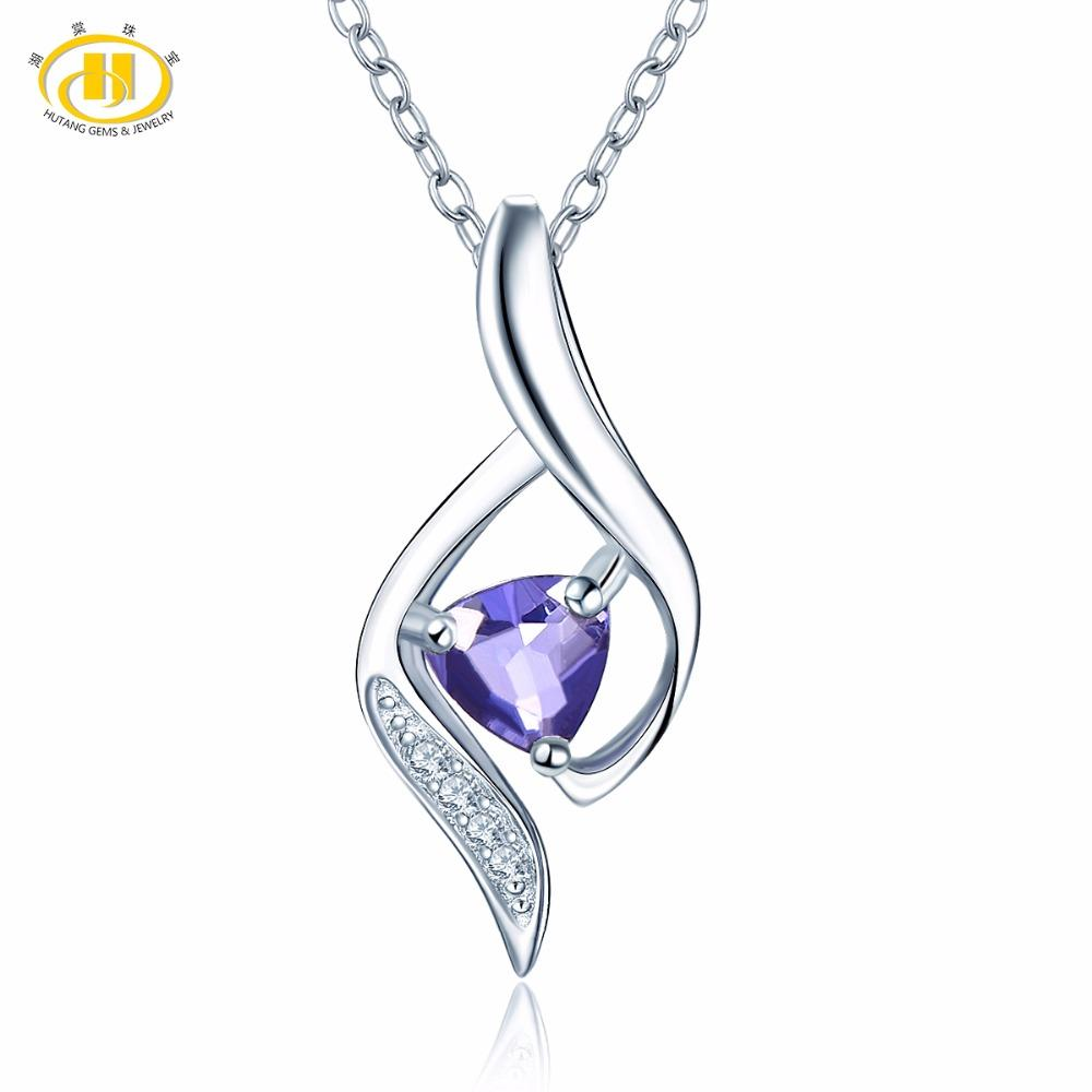 98cc62c3eab8d Hutang Stone Jewelry Natural Iolite & Similar Diamond Solid 925 Sterling  Silver Pendant Necklace Fine Fashion Gemstone Jewelry