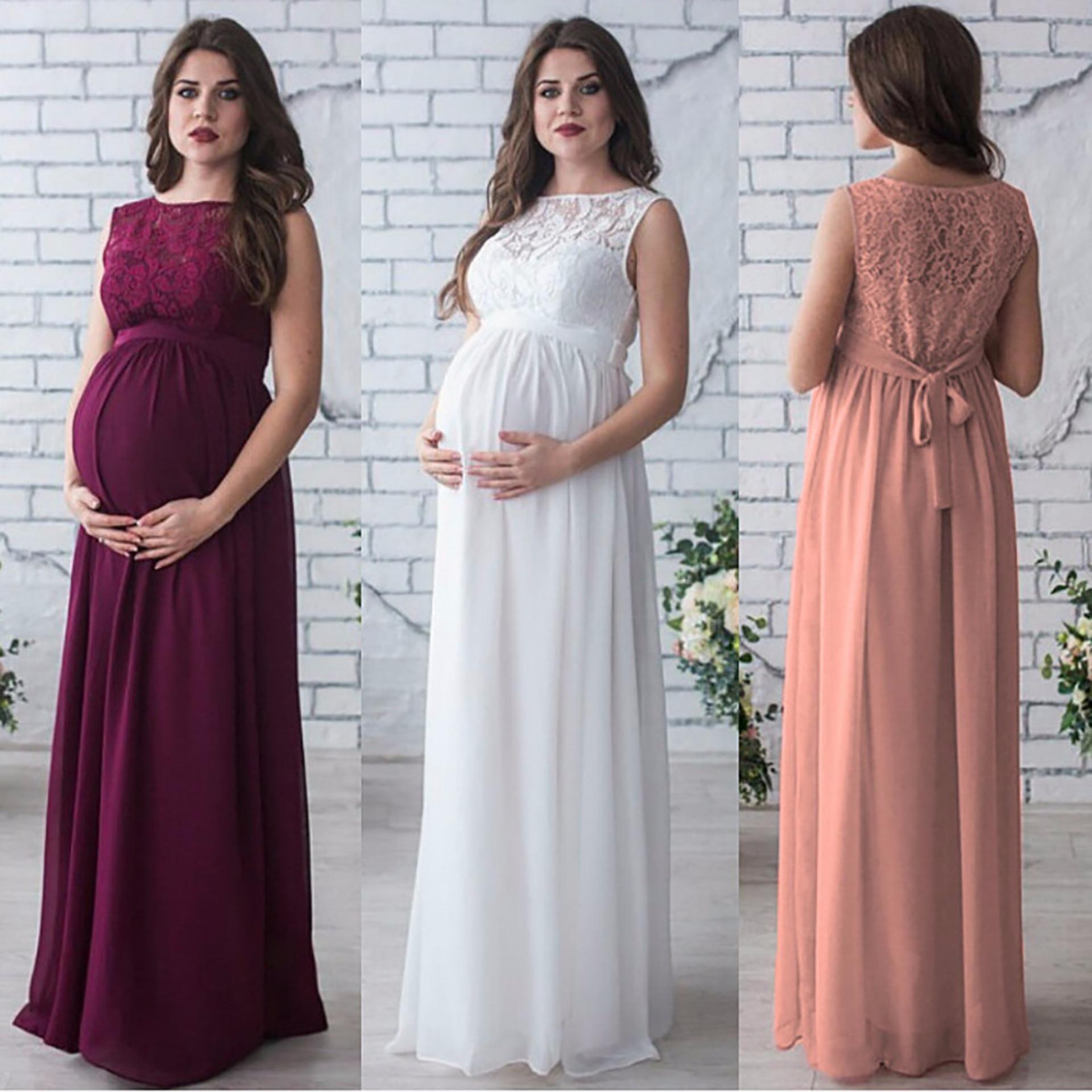 super popular d463f a9669 I migliori abiti da sera incinta maternità bordeaux bianco Boho Top pizzo  pavimento lunghezza abiti da ballo lunghi Plus Size fantasia speciale ...