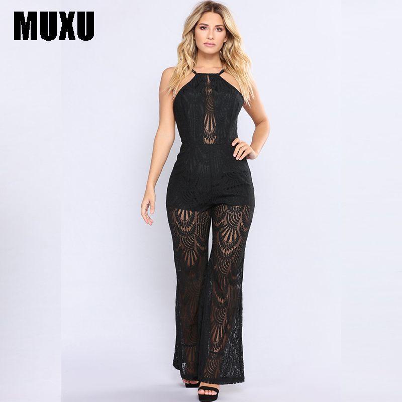 e03b241b6ef 2019 MUXU Sexy Bodysuit Jumpsuit Body Women Combinaison Femme Summer Black  Lace Long Jumpsuits Transparent Backless Ladies Suspenders From Cadly
