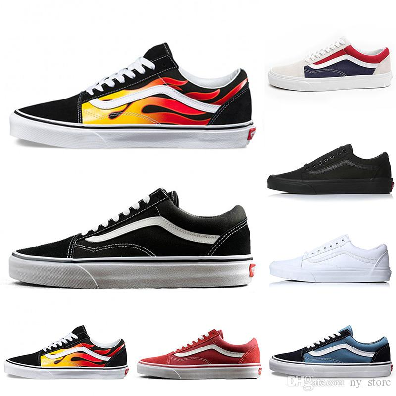 Flames Original Old Skool Running Shoes Black Blue Red Classic Mens Women  Canvas Sneakers Fashion Cool Skateboarding Casual Shoes 36-44 Vans Old Skool  ... 20a67d4f8de9