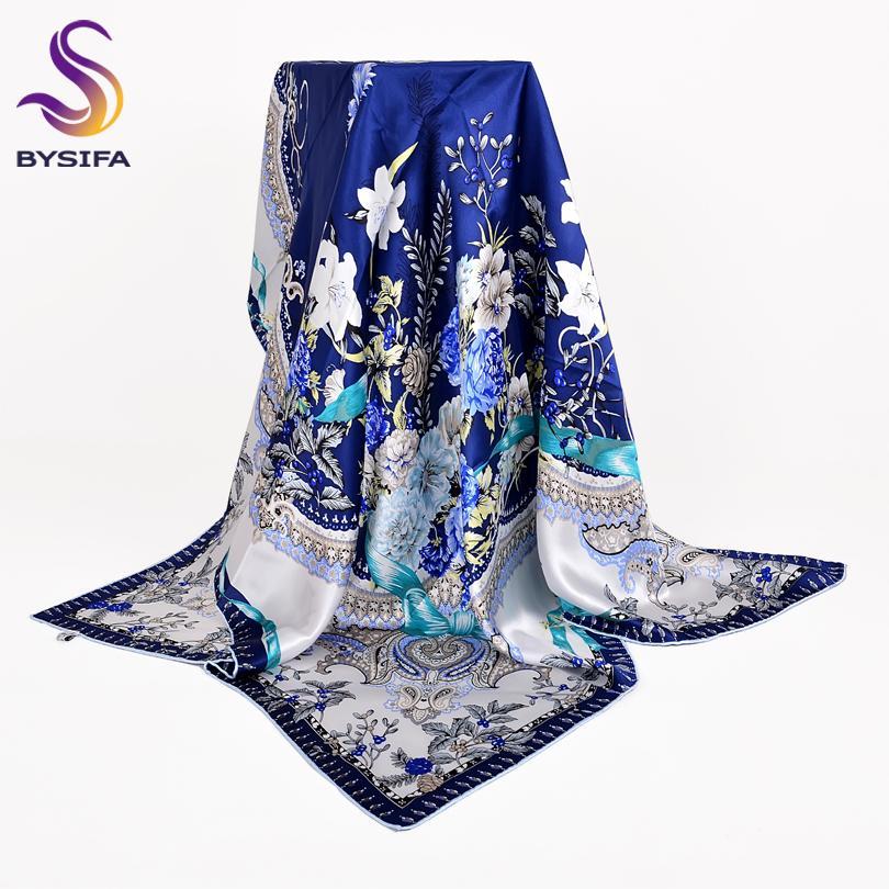 cf5d0cfefc9 Acheter BYSIF Foulard En Soie Blanc Bleu Châle Nouveau Style Chinois Foral  Design 100% Soie Pure Femmes Foulards Wraps Printemps Automne Foulard De   47.25 ...