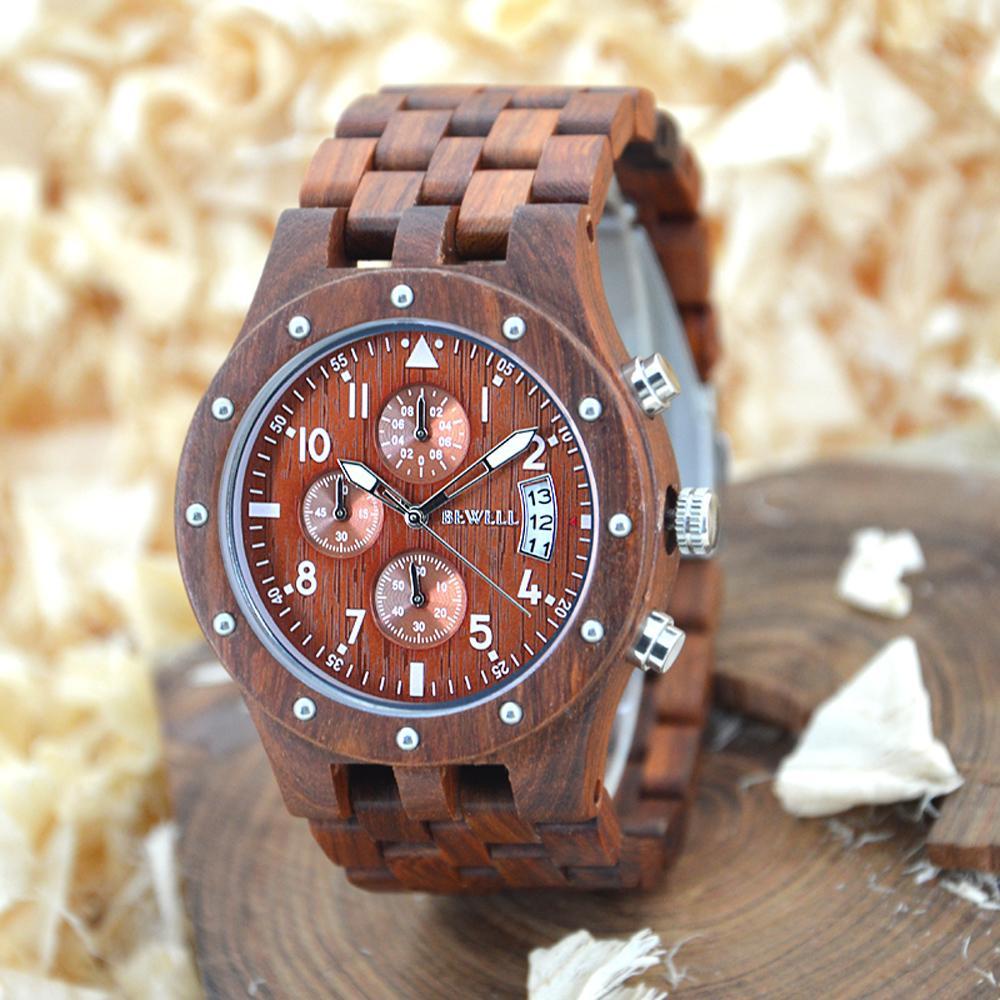 0d413464ab0 Compre BEWELL Homens Cronógrafo De Madeira Relógios Dos Homens Top Marca De  Luxo Design Militar Relógio Homem De Pulso De Quartzo Relógio Relogio  Masculino ...