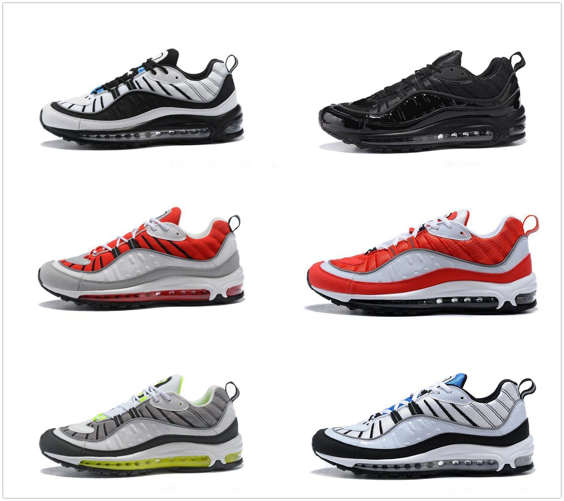 new style 1efa3 b6e72 Acquista Nike Air Max 98 Airmax New Top 98 98 Stripe Blu Navy Bianco Gundam  Style Best Quality Uomo Casual Scarpe Da Corsa Sport Discount Sneakers  Taglia 7 ...