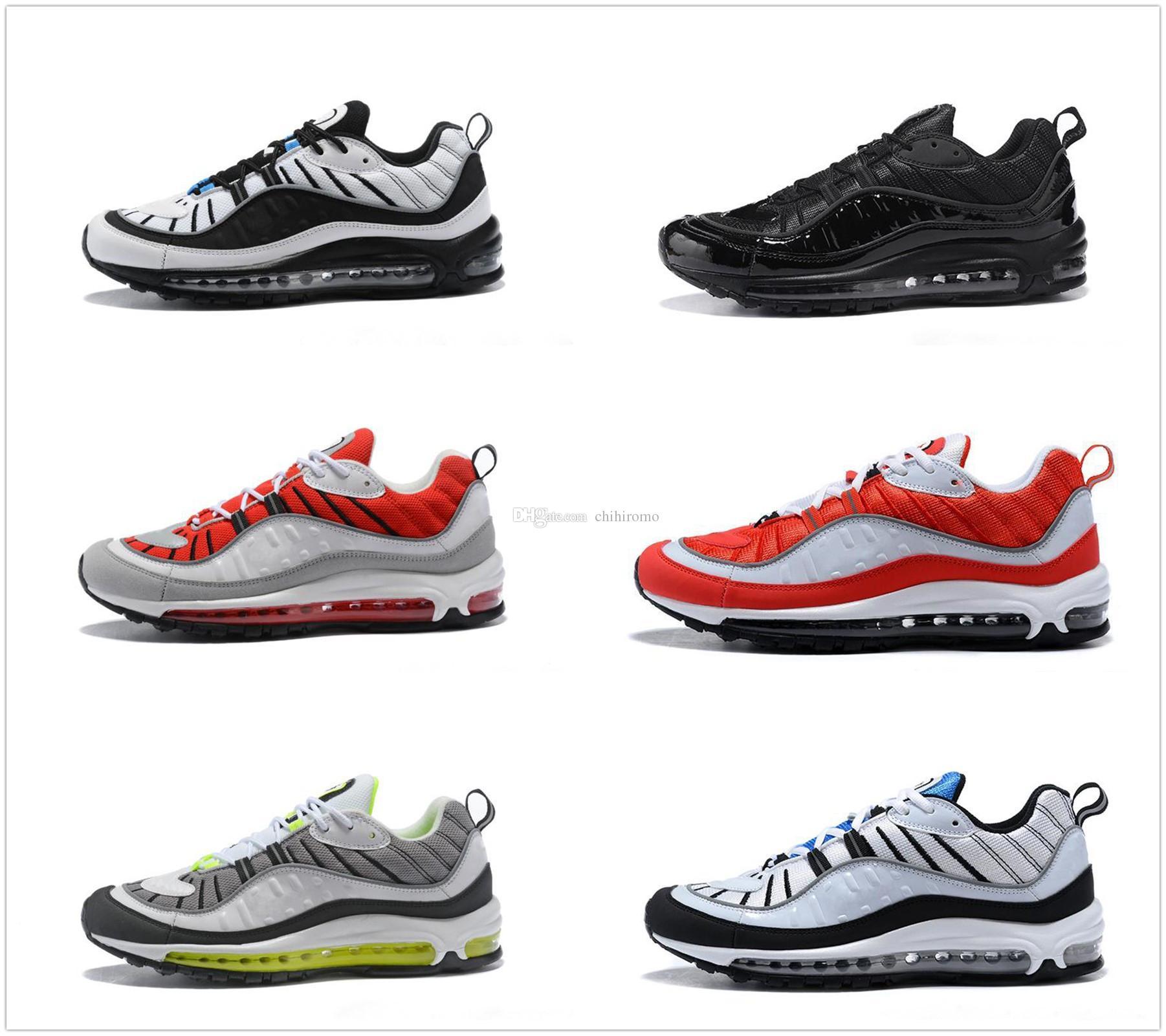 timeless design ea291 6f3c3 Compre Nike Air Max 98 Airmax Nuevo Top 98 98s Raya Azul Marino Blanco  Estilo Gundam La Mejor Calidad Para Hombre Zapatillas De Deporte Casuales  Sport ...
