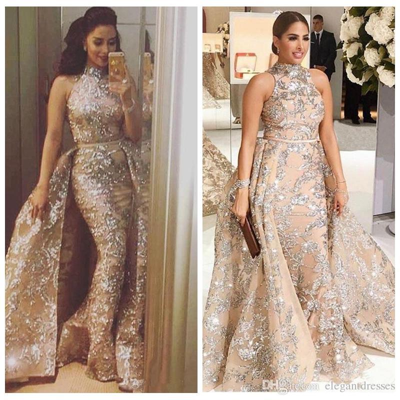 Yousef Aljasmi 2018 Bling Bling Lace Evening Dresses Dubai Arabic ...