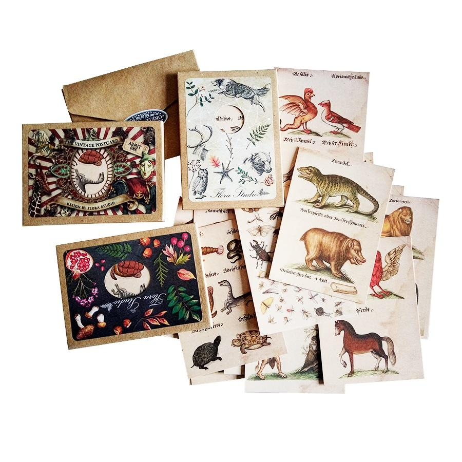 4 Pack/lot New Arrival Vintage Animal Postcard High Quality Natural Life's  Greeting & Invitation Card Wholesale