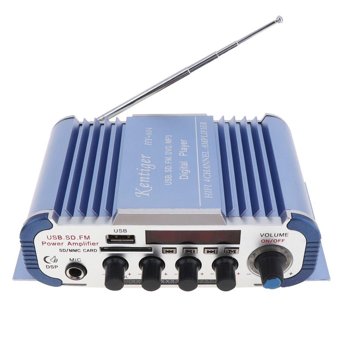 4x42W Hallo-fi Auto Audio Endverstärker FM Radio Player Nachhall Funktion Unterstützung MP3 FM USB SD DVD Mikrofon Eingang Für Auto CAU_111