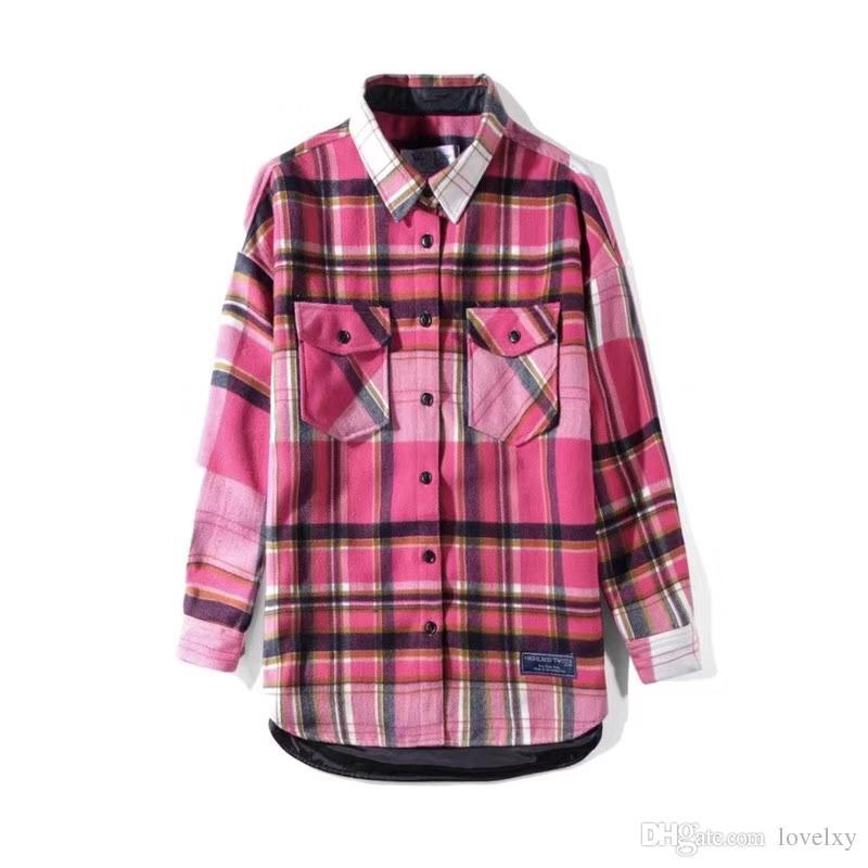 super popular 6ab67 a2eea Giacca da camicia da uomo a quadri da donna Nuova giacca da taschino con  bottone rosa con giacca da camicia per coppie gratuita