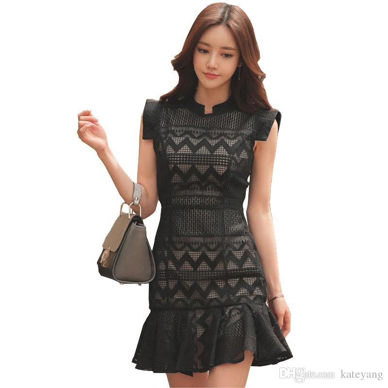 newest collection 43233 12e74 Vestito elegante donna coreano aperto indietro senza maniche vestito di  sirena torchon con filetto in pizzo aderente mini abito da mermaid per ...