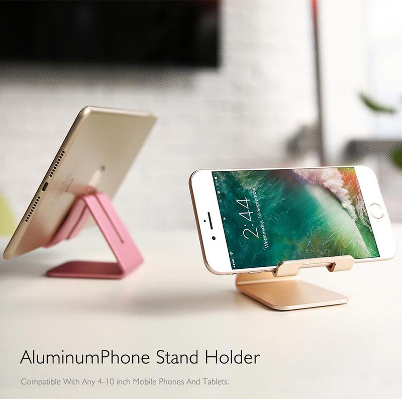 Universal Aluminio Metal Tabletas de Teléfono Celular PC Soporte de Escritorio Soporte Holder Soporte Para iPhone 6 6S 5S SE Para Galaxy Note 5 MQ100