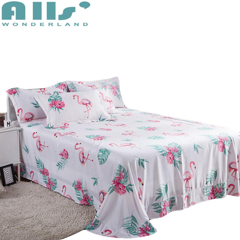 Cute Flamingos Lyocell Sleep Sheet For Summer High Quality Tencel Queen And  King Size Bed Sheets With Pillow Cases Flannel Bedding Queen Size Duvet  From ...