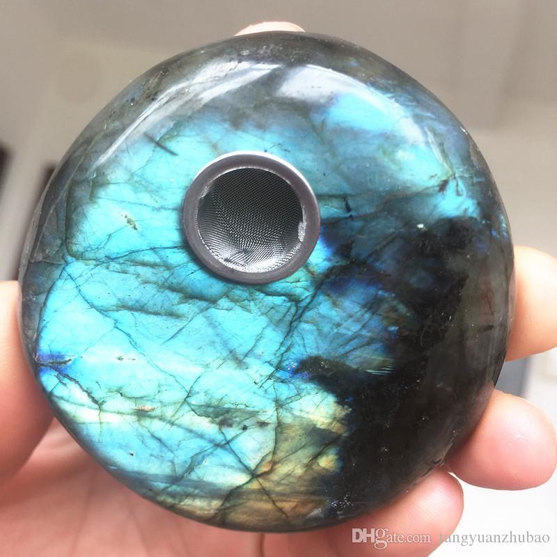 Belle Labradorite Quartz Naturel Moonstone Crystal baguette Tuyaux Fumer Pipes Vert Pierre Fumée Filtre Baguette Livraison Gratuite En Gros