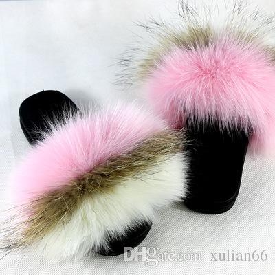 c1d9d9020d1d8a Hot Shaggy Slippers New Luxury Women S Fox Fur Slippers Fluffy Real Hair  Designer Flip Flops Ladies Cute Sandal Fashion Furry Woman.
