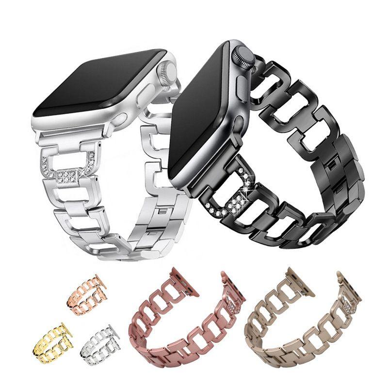 fbc61566320 Compre Para Los Accesorios De La Correa De Metal De La Serie 1 2 3 De Apple  Watch Con Diamantes De Imitación Para El Reemplazo De La Banda De Acero ...