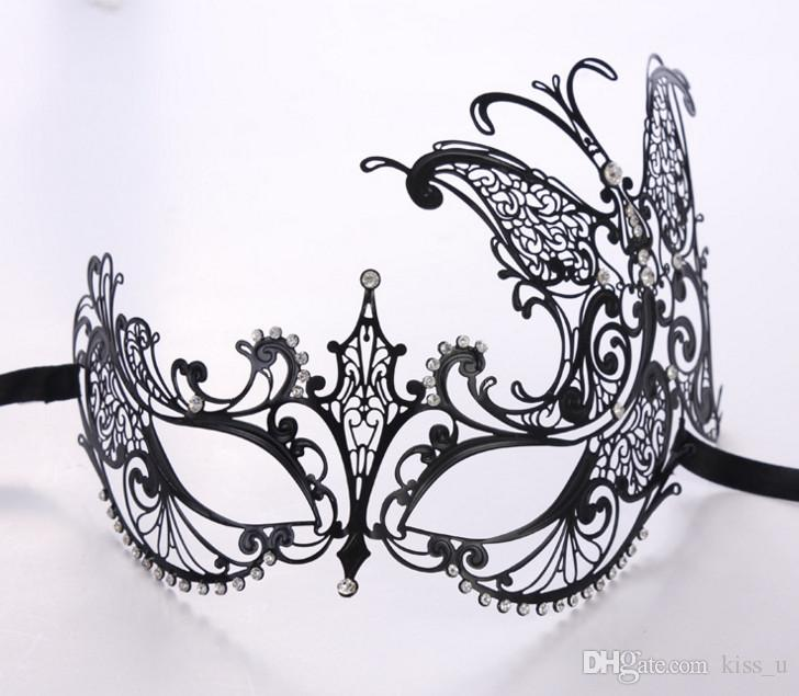 2018 Adult Metal Filigree Costume Masquerade Mask Venetian Ball Prom Event Mardi Gras Rhinestone Wedding Party Mask