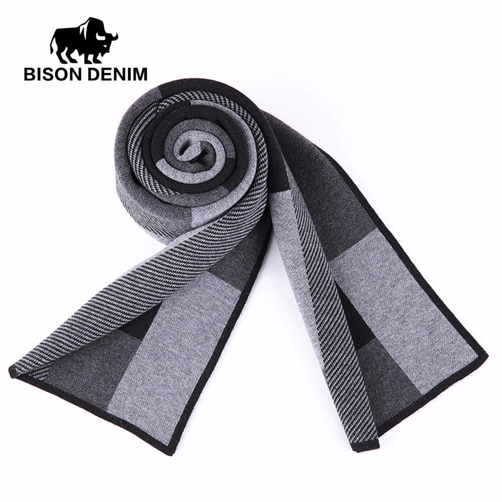 a55f691bf BISON DENIM Fashion Scarves Winter Men's Cashmere Scarf Plaid Warm  Neckercheif Good Quality Scarves Men K0007