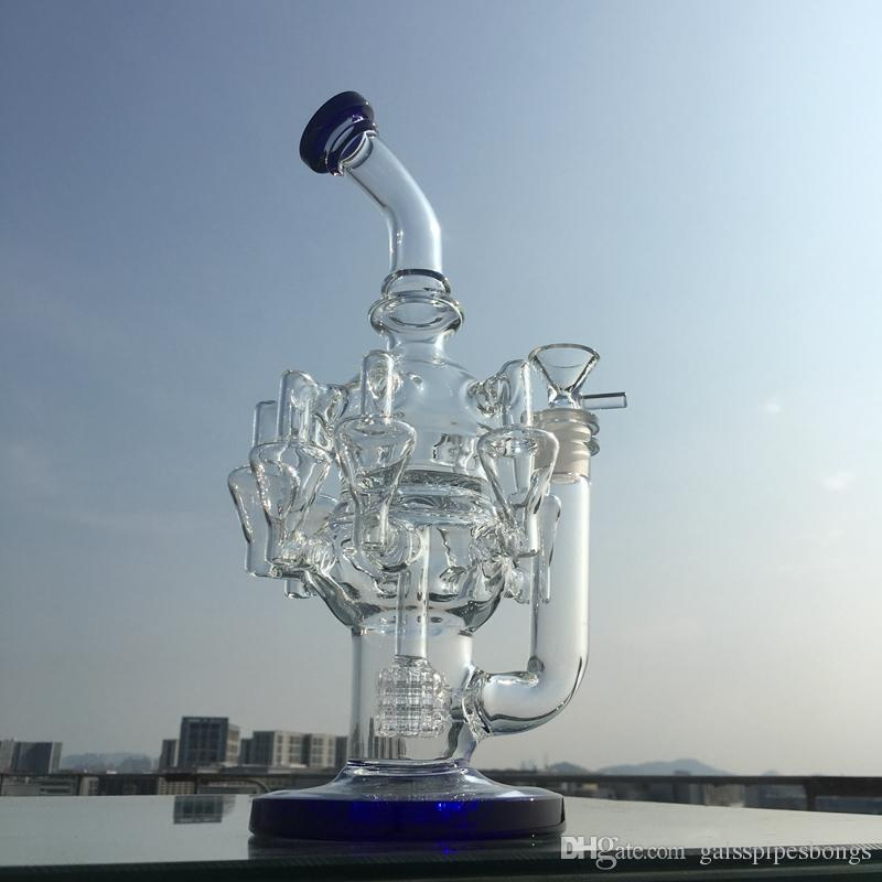 8 Reciclador BONG DAB Rigs 30 cm de vidrio de cera de 30 cm con una pieza de tazón matriz PERCOLADER OIL RIG GRANTE GRANTE TUBOS DE AGUA 14.5mm Junta