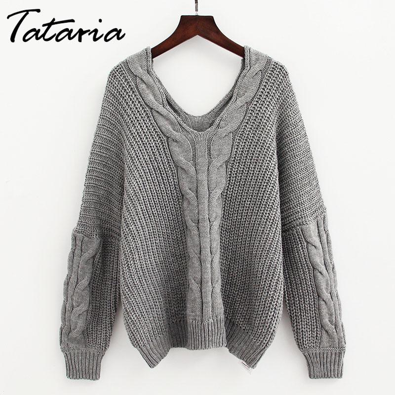 07a58c318d 2019 Twist Knitted Jumpers Oversized Sweaters V Neck Women Sweaters And Pullovers  Long Sleeve Thick Ladies Winter Sweater For Women From Donahua