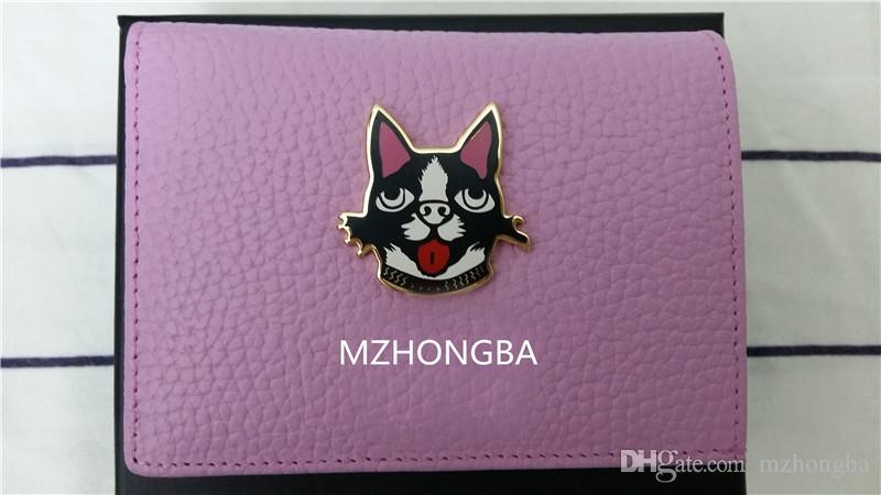 European And American Style Vogue DOG Cartoon Animal Genuine Leather Short Wallets Hasp With Zipper Purse