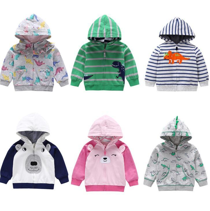 Child Sweatshirt Baby Boy girls dinosaur Print Outwear cartoon animal Hooded Coat Kids Spring Autumn Clothes Dinosaur HoodieS KKA6200