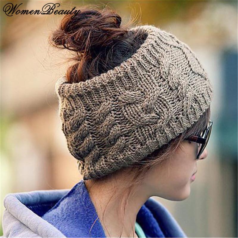31198b7b036 2018 New Winter Hats For Women Girl Warm Head Band Wear Ear Warmer Beret  Beanie Knitted Hat Cap Headwear Skullies Knit Beanies Hats Online Caps From  ...
