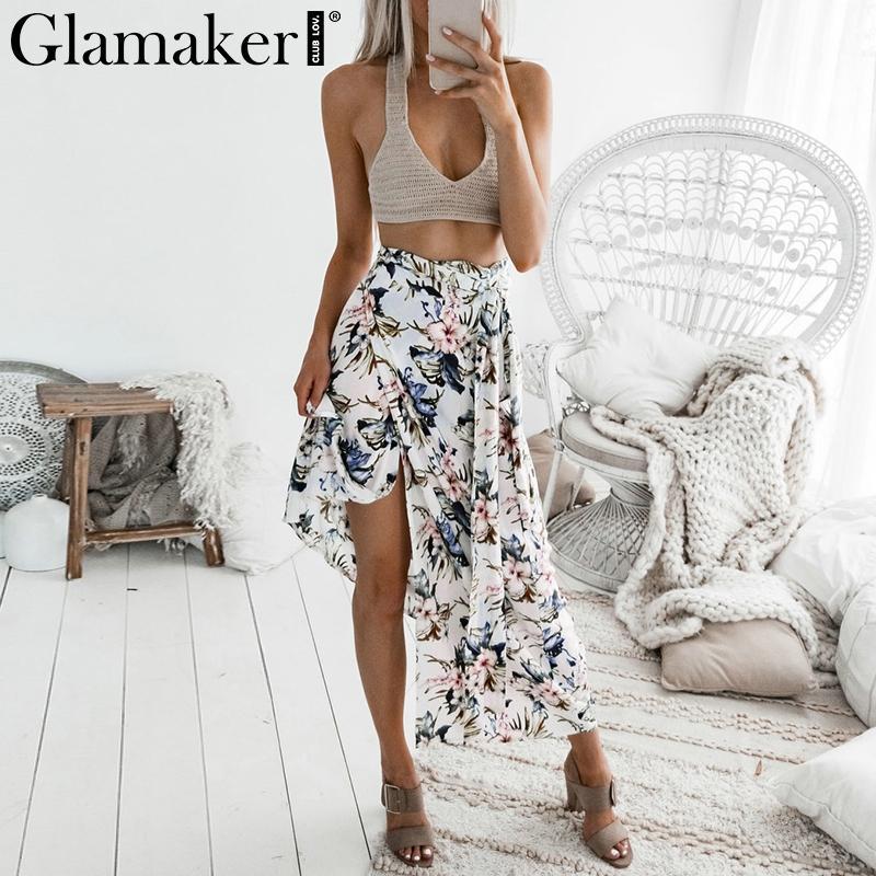 9ef69d46f9 2019 Glamaker Floral Print Side Split Women Skirt Summer Style High Waist Beach  Maxi Wrap Skirt Sexy Elegant Party Bottom 2018 From Matilian, ...