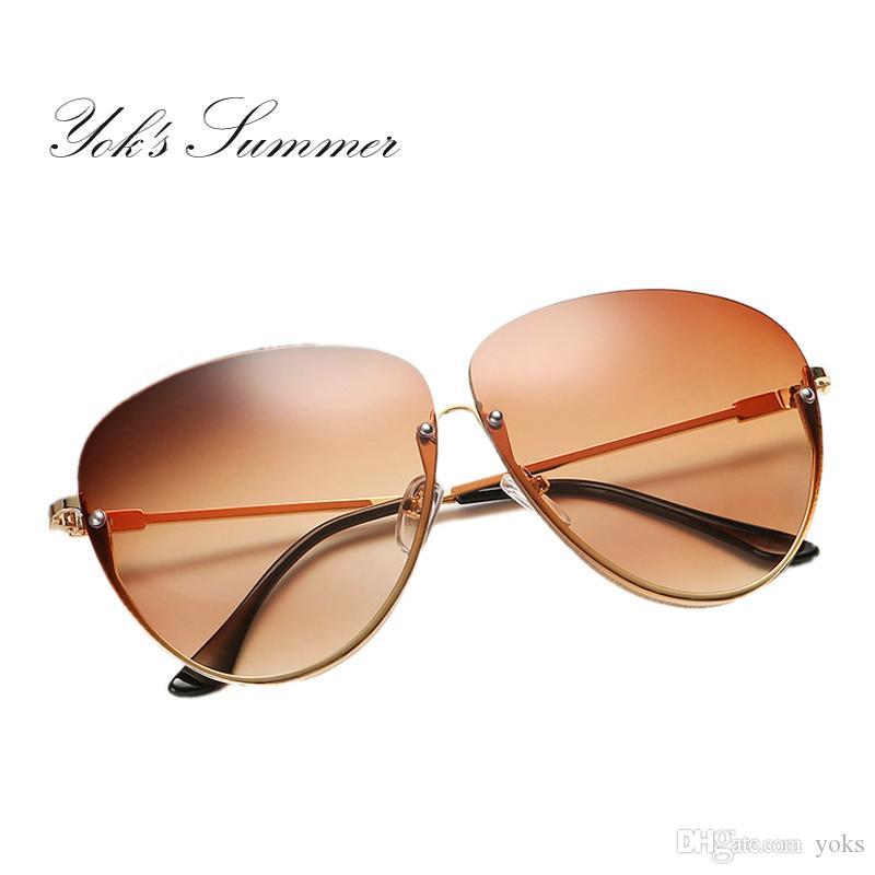 414ac1a8fc Yok s Summer Gradient Oversized Sunglasses Men Brand Big Yellow Half Frame  Sun Glasses Pink Clear Lens Clear Women Eyewear WL002