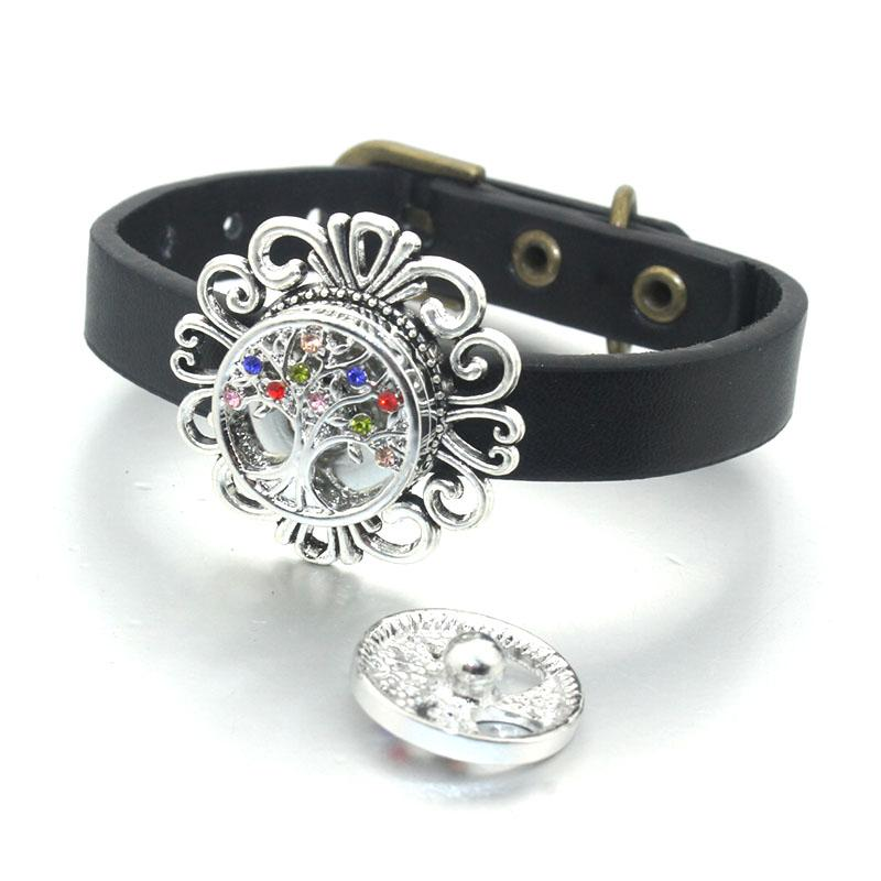 Tree of Life 18MM Snap Button Jewelry DIY Crystal Round Pattern Snap Button Charms Fit Women Snap Bracelet Jewelry 061112