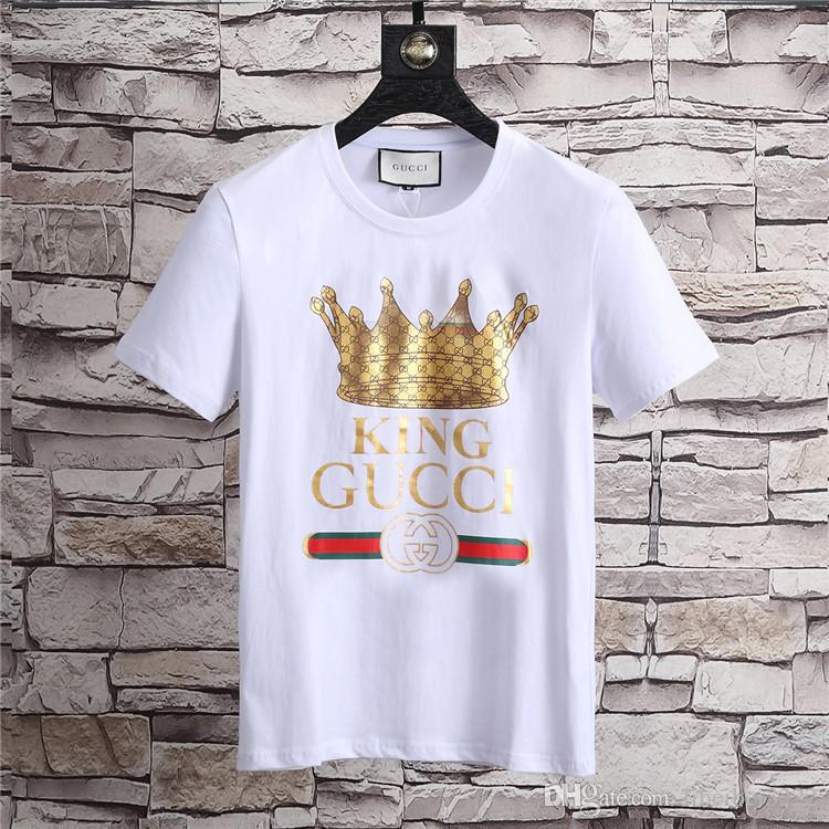 ac266933078 Luxury Blouse Top KING Crown Print T Shirts Mens Sports Short Sleeve ...