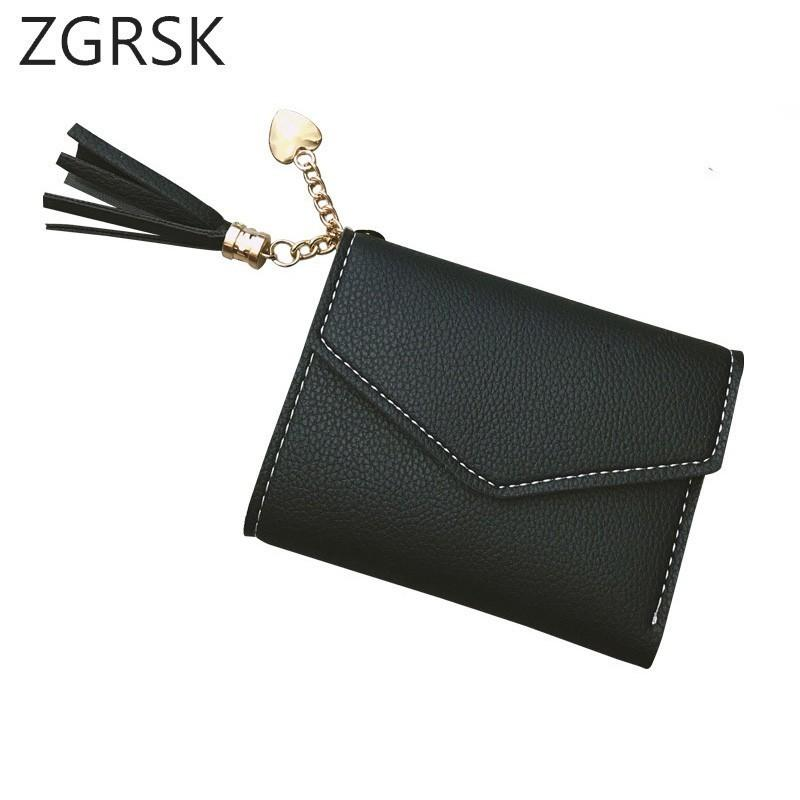 Girls Ladies Wallet Korean Small Female Slim Woman Short Hasp Peach Tassels Mini  Wallet Woman Card Handy Pocket Purse For Women Cute Wallet Wallets For ... ade07a57dbe5