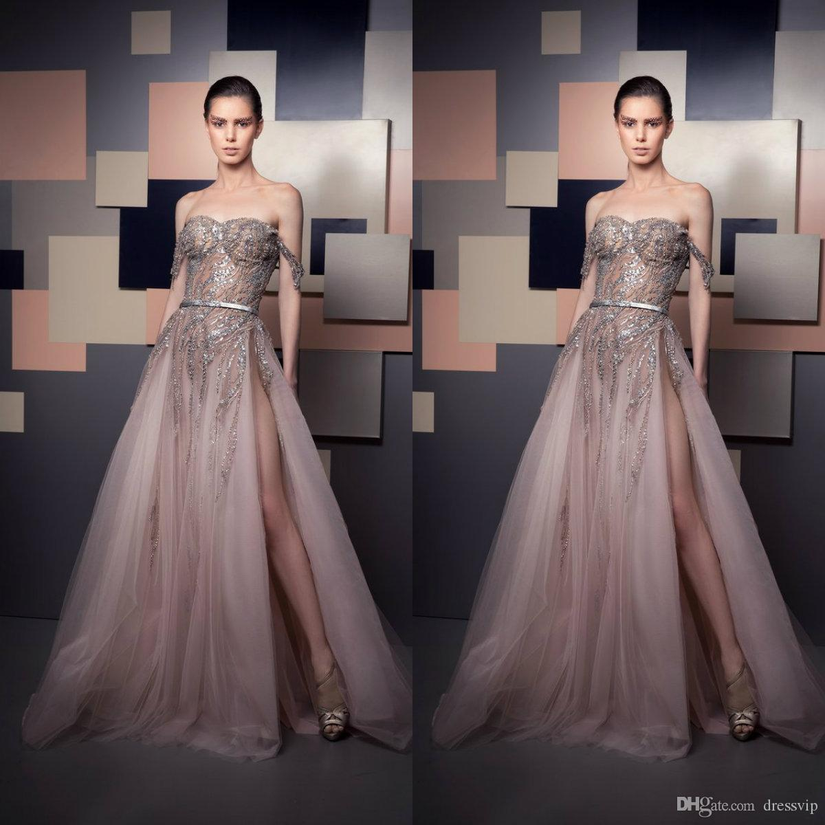 2019 Ziad Nakad Evening Dresses Off Shoulder Luxury Beads Sequins Illusion  Bodice Sexy High Side Split Prom Dress Party Wear Special Gowns Sexy Plus  Size ... 534510166f26