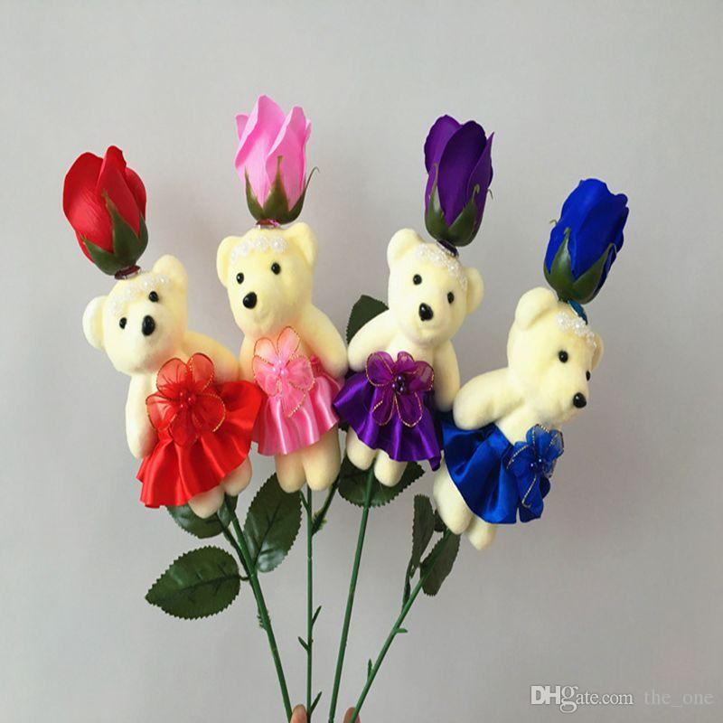 Teddy Bear Rose Soap Flower Bouquet Multicolor Cute Doll Gift Soap ...